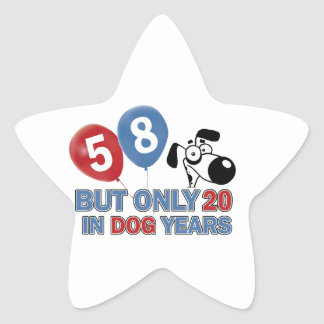 diseños del cumpleaños de 58 años pegatina en forma de estrella