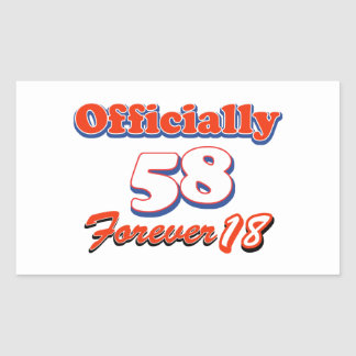 diseños del cumpleaños de 58 años pegatina rectangular
