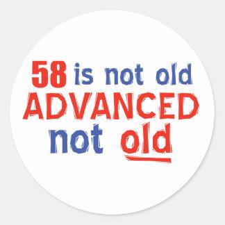 diseños del cumpleaños de 58 años pegatina redonda