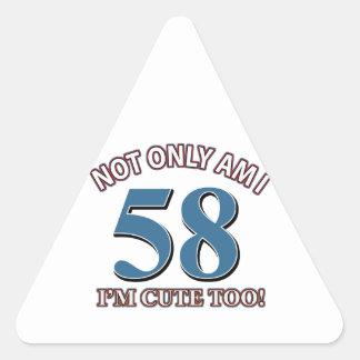 diseños del cumpleaños de 58 años pegatina triangular