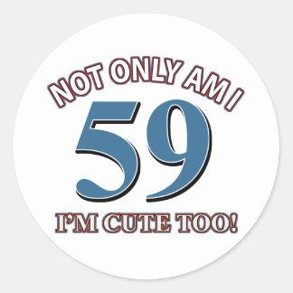diseños del cumpleaños de 59 años pegatina redonda