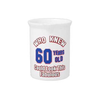 diseños del cumpleaños de 60 años jarras de beber