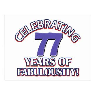 diseños del cumpleaños de 77 años postales