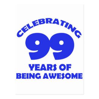 diseños del cumpleaños de 99 años postal