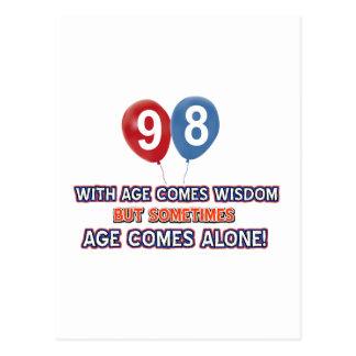 diseños del cumpleaños de la sabiduría de 98 años postales