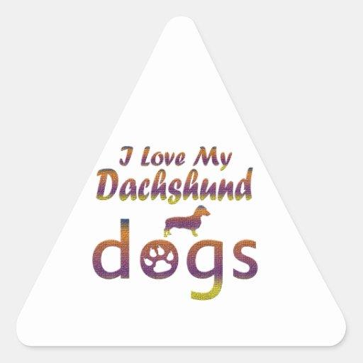 Diseños del Dachshund Pegatina Triangular