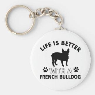 Diseños del dogo francés llavero redondo tipo pin