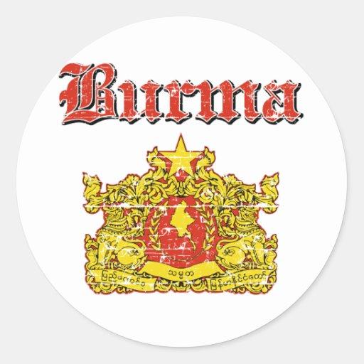 Diseños del escudo de armas de Birmania Pegatina Redonda