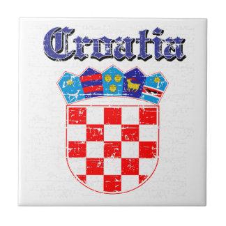 Diseños del escudo de armas de Croacia del Grunge Azulejo Cuadrado Pequeño