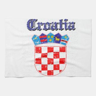 Diseños del escudo de armas de Croacia del Grunge Toalla De Cocina