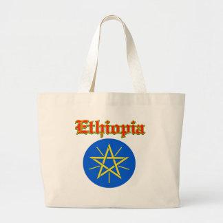 Diseños del escudo de armas de Etiopía del Grunge Bolsa Tela Grande