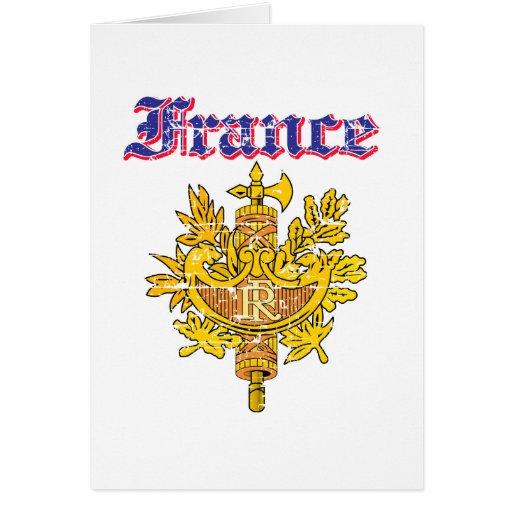 Diseños del escudo de armas de Francia del Grunge Tarjeta De Felicitación