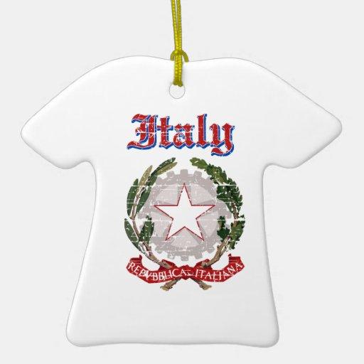 Diseños del escudo de armas de Italia del Grunge Adorno De Cerámica En Forma De Playera