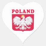 Diseños del escudo de armas de Polonia Calcomanías Corazones Personalizadas