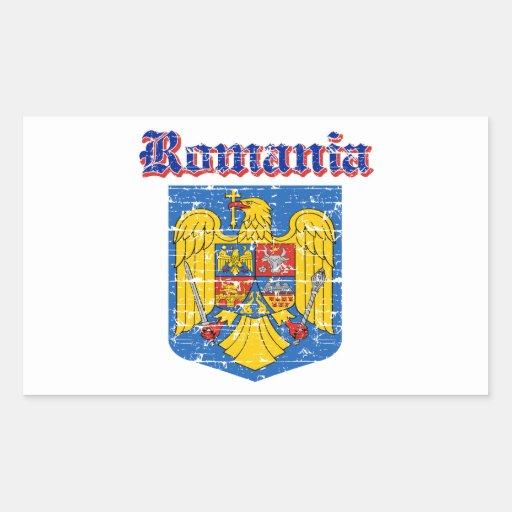 Diseños del escudo de armas de Rumania del Grunge Pegatina Rectangular