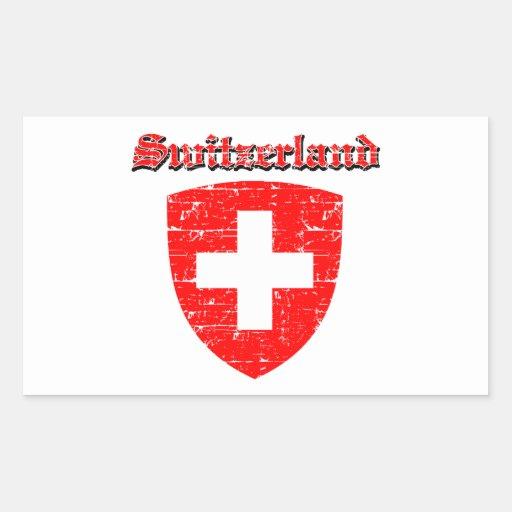 Diseños del escudo de armas de Suiza del Grunge Pegatina Rectangular