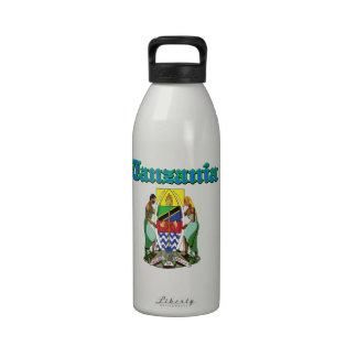 Diseños del escudo de armas de Tanzania del Grunge Botella De Agua