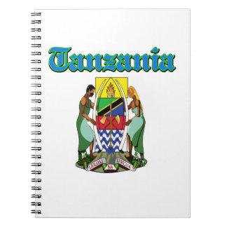 Diseños del escudo de armas de Tanzania del Grunge Libros De Apuntes Con Espiral