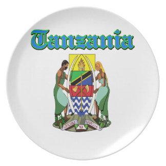 Diseños del escudo de armas de Tanzania del Grunge Plato De Cena