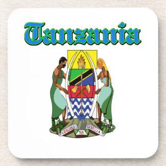 Diseños del escudo de armas de Tanzania del Grunge Posavasos De Bebida