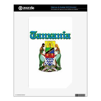 Diseños del escudo de armas de Tanzania del Grunge Calcomanías Para El NOOK Color