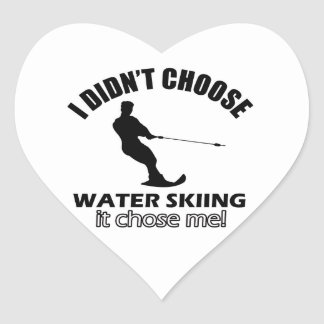 diseños del esquí acuático pegatina en forma de corazón
