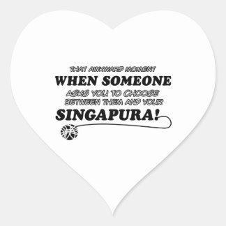 Diseños del gato de SINGAPURA Pegatina En Forma De Corazón