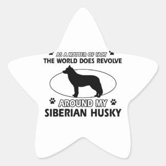 diseños del husky siberiano pegatina en forma de estrella
