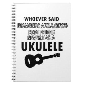 Diseños del instrumento musical del Ukulele Libreta Espiral
