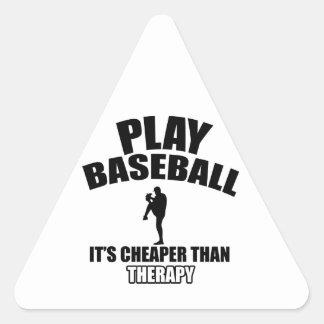 Diseños del jugador de béisbol pegatina triangular