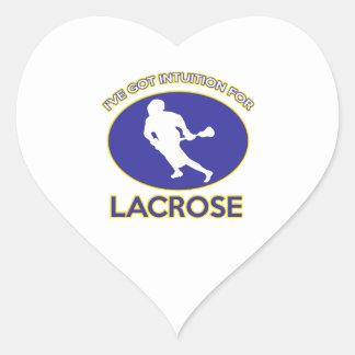 diseños del lacrosse pegatina en forma de corazón