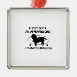 Diseños del mejor amigo del AFFENPINSCHER Adorno Cuadrado Plateado