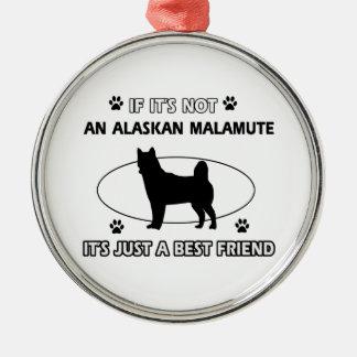 Diseños del mejor amigo del MALAMUTE DE ALASKA Adorno Navideño Redondo De Metal