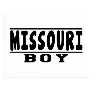 Diseños del muchacho de Missouri Postales