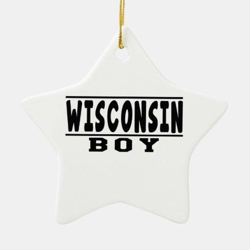 Diseños del muchacho de Wisconsin Adorno De Cerámica En Forma De Estrella