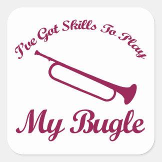 diseños del musical del bugle pegatina cuadrada