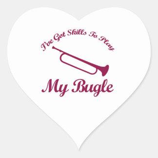 diseños del musical del bugle pegatina en forma de corazón