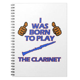 diseños del Musical del clarinet Libreta Espiral