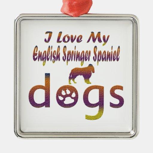 Diseños del perro de aguas de saltador inglés adorno cuadrado plateado