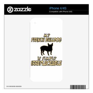 Diseños del PERRO del dogo francés iPhone 4 Skins