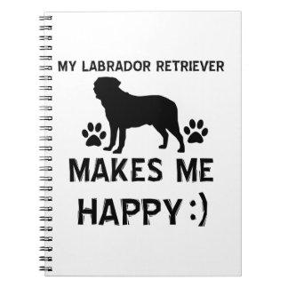Diseños del perro del labrador retriever libros de apuntes