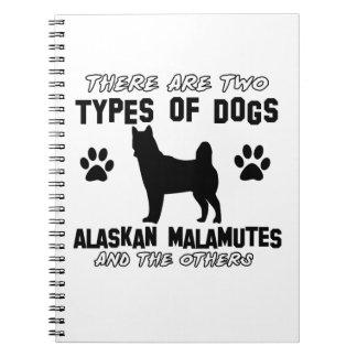 Diseños del perro del Malamute de Alaska Libro De Apuntes Con Espiral