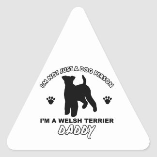 Diseños del perro del papá de TERRIER GALÉS Pegatina Triangular