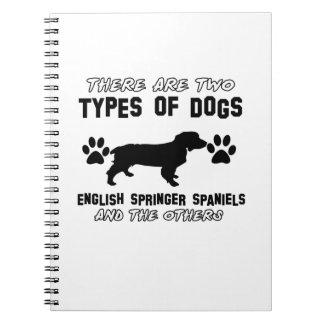 Diseños del perro del perro de aguas de saltador note book
