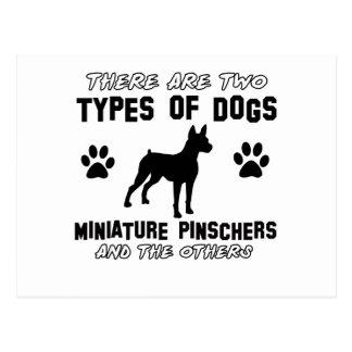 Diseños del perro del pinscher miniatura postales