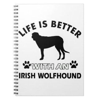 Diseños del perro del Wolfhound irlandés Libros De Apuntes