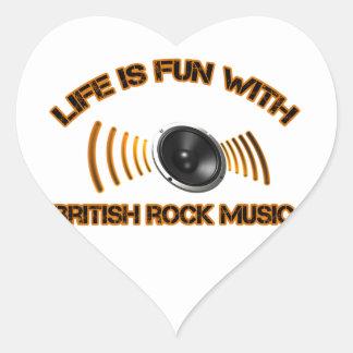 Diseños del rock británico pegatina en forma de corazón