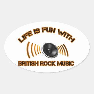 Diseños del rock británico pegatina ovalada