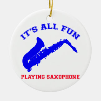 diseños del saxofón adorno navideño redondo de cerámica