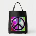 Diseños del signo de la paz del teñido anudado bolsas